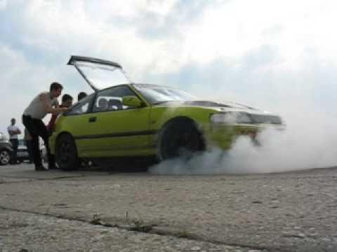 Honda CRX Yellow Gen2 D16A9 MEGA AWESOME BURNOUT