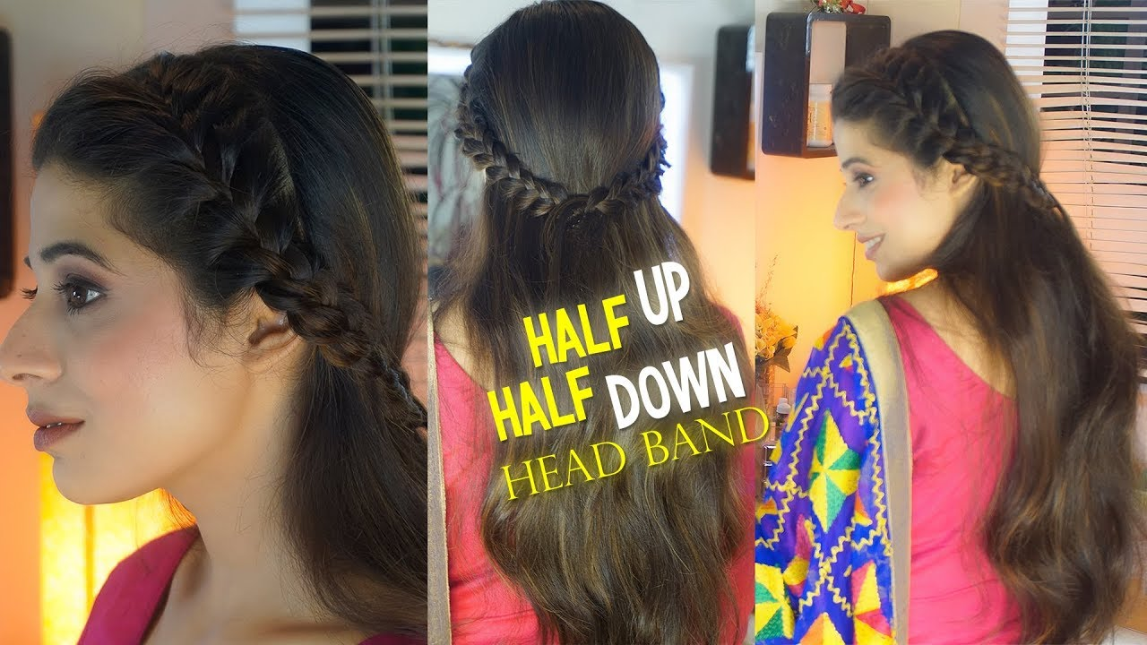 half up half down head band style | best hairstyle for punjabi suit
