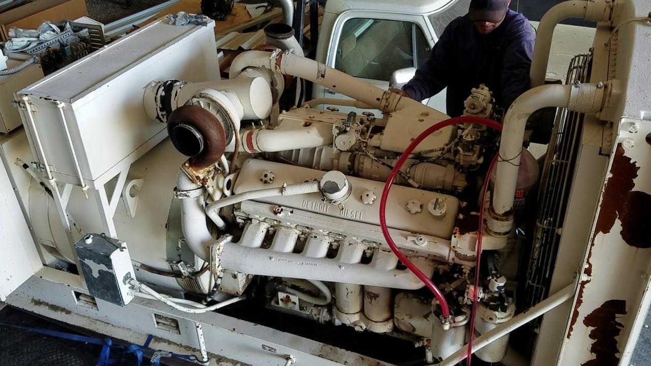 Starting V12 Twin Turbo Detroit Diesel 12v71 On 350kw Kohler Generator Youtube