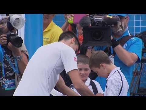 Novak Djokovic hits with a fan - 2014 Australian Open