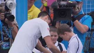 Novak Djokovic hits with a fan - 2014 Australian Open