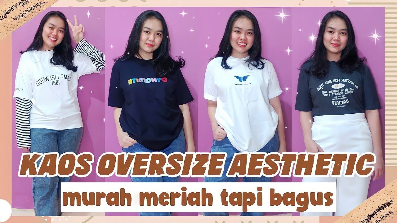 shopee haul kaos/t-shirt aesthetic oversize termurah + try on