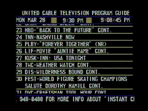 United Cable Electronic Program Guide (Phoenix, AZ - Mon. 3/28/1988)