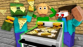 Monster School: WORK AT FAST FOOD PLACE WITH BALDI'S BASICS BECOME ! - Minecraft Animation