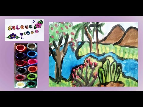how to draw desert scenery drawing - Myhiton