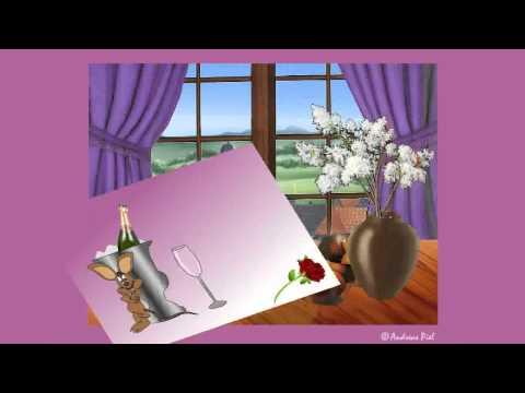 Einladungsgrußkarte mit Katz und Maus