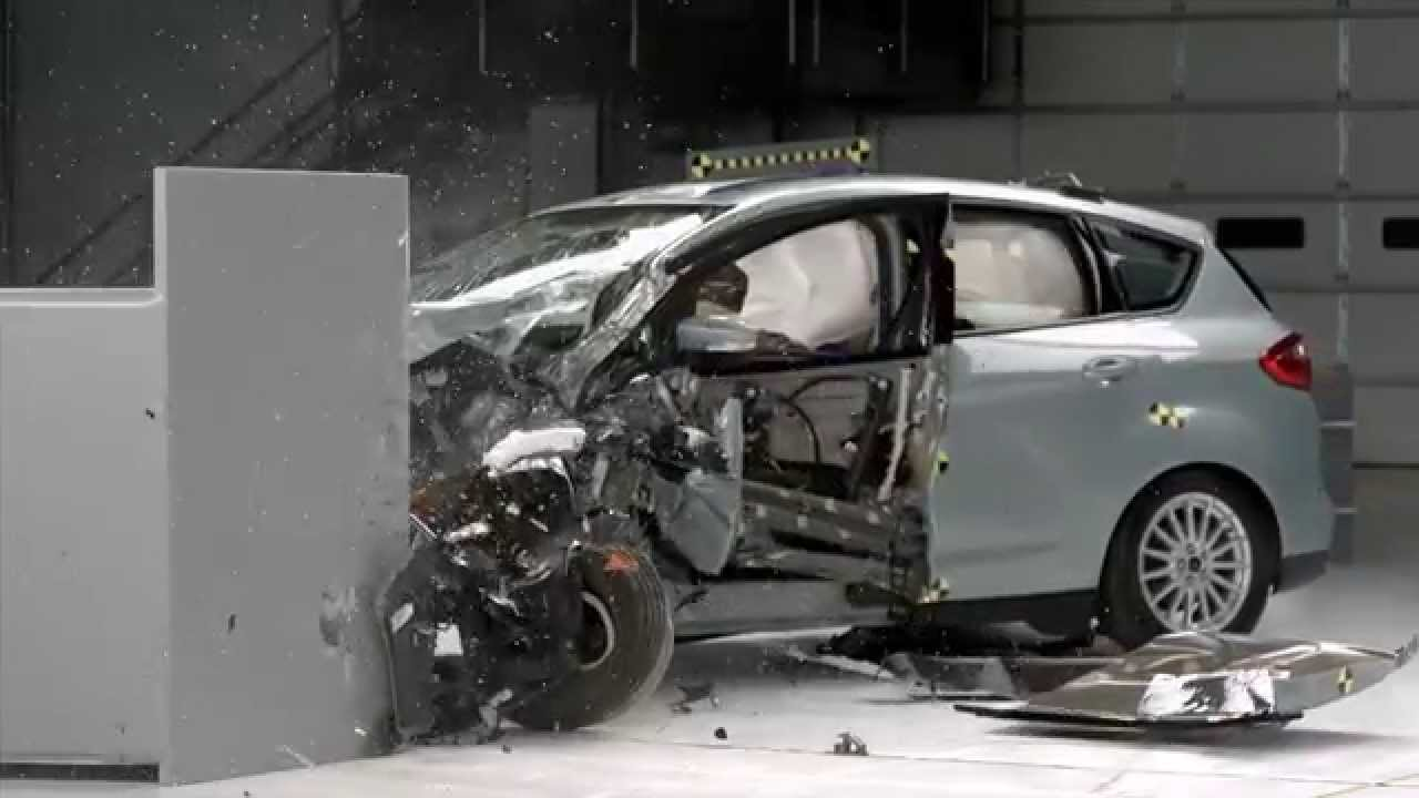 iihs 2014 ford c max hybrid small overlap crash test. Black Bedroom Furniture Sets. Home Design Ideas