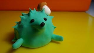 06. Как сделать Ёжика из пластилина. Лепим простого Ежа из воздушного пластилина видео.