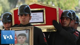 Funeral for Turkey's First Fallen Soldier Killed From Turkish Military Incursion in Syria
