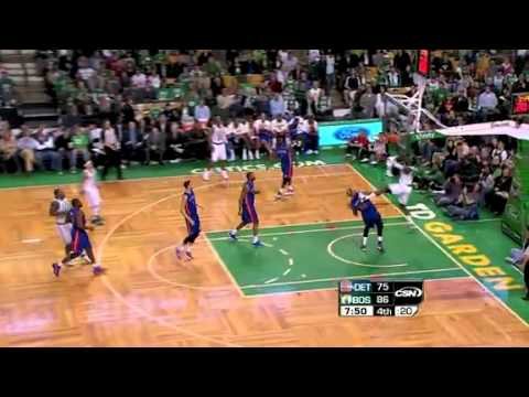 Delonte West Alley-Oop to Jeff Green! POSTERIZES the Pistons!