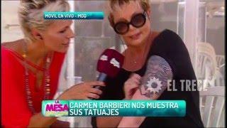 Carmen Barbieri muestra sus nuevos tatuajes y habla de una diva del espectáculo