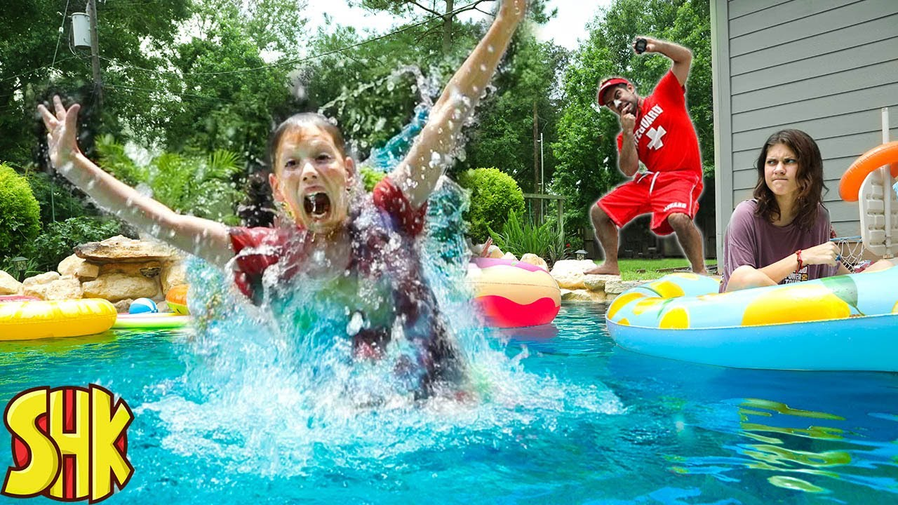 Escape the Mean Lifeguard! SECRET FEAR OF WATER and Won't Let us SWIM! Swimming Pool Challenge