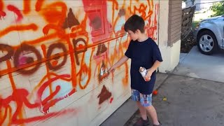 Kid Spray Paints $1,200 Garage Door - DADDY RAGE! - 95,000 Sub…