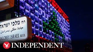 Tel Aviv's City Hall lit up with Lebanese flag