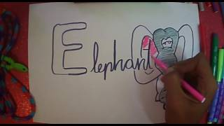 "Easy draw ""E"" letter vowels for kids"