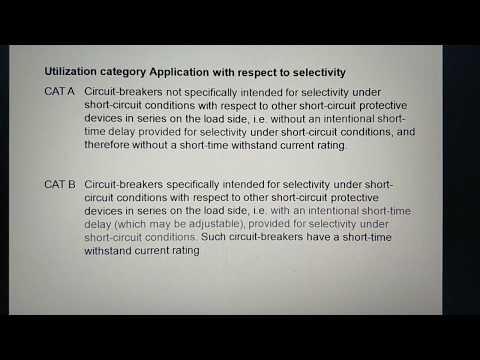 Utilization category Application in Switchgear