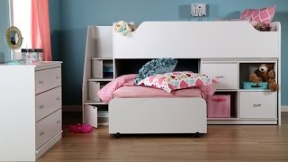 South Shore Mobby Twin Loft Bed With Trundle And Storage Unit In Pure White Finish For Kid's Bedroom