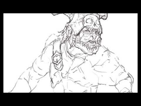 [크리티컬]드로잉 - 섀도우오브워 오크  - 그림 그리기 [Critical] Shadow of war Orc Drawing  Speed Drawing