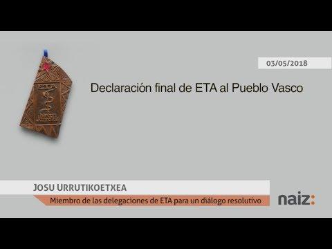 Comunicado de ETA que anuncia su disolución leído por Josu Ternera