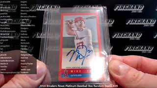 2018 Breakers Rowe Platinum Baseball Box Random Teams #29 ~ 1/19/19