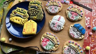 Drawing of golden tiger god on Cookies | Decorate Royal Icing | How to draw | SweetPoppyArt #21