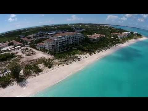 Turks & Caicos Grace Bay Beach Aerial View (1080p)