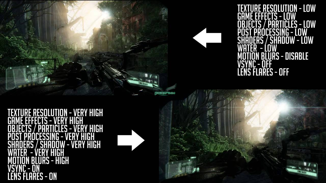 Crysis 3 graphics comparison pc maxed settings vs xbox 360 1080p - Crysis 3 Pc Gameplay Low Vs Very High Settings Comparison 720p Hd