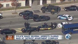 Police make several arrests during raid at Detroit apartment complex
