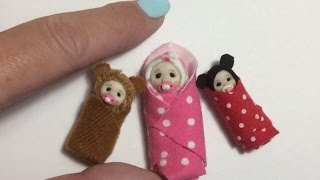 DOLL HOUSE DIY Miniature Bundle Baby Swaddled Tutorial 1/12th scale or BARBIE BABY