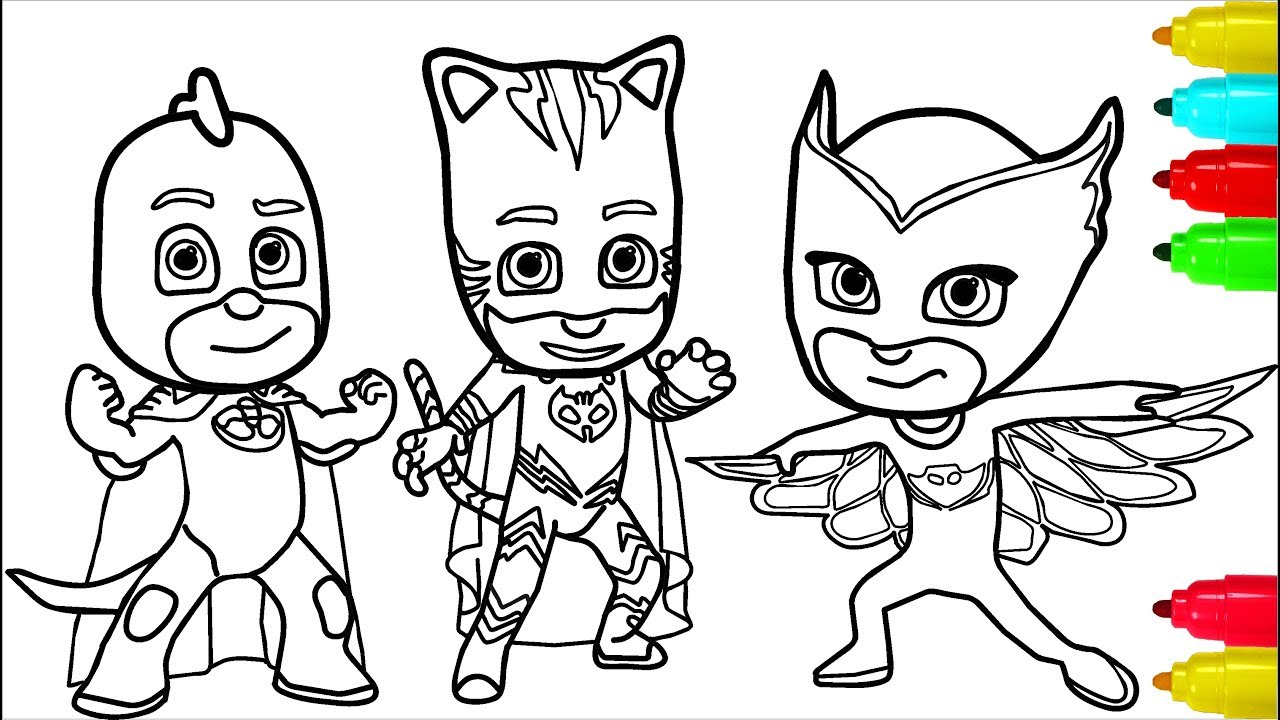 Pj Masks Minions Coloring Pages Colouring Pages For Kids With Colored Markers Youtube