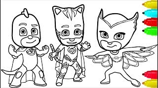 PJ Masks Minions Coloring Pages Colouring Pages for Kids with Colored Markers