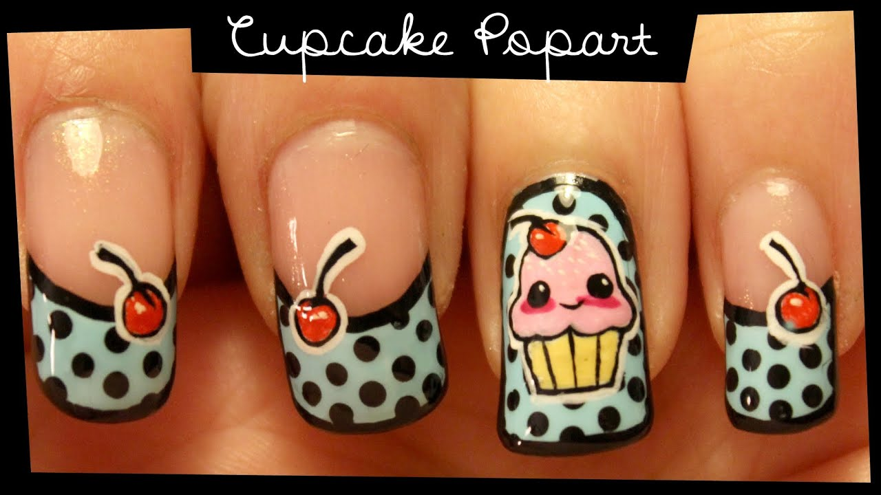 Cupcake Popart Nail Art Tutorial Freehand Nail Art Youtube