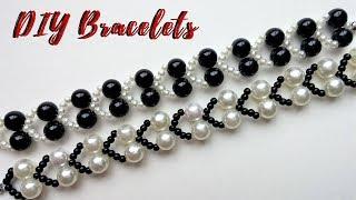 Jewelry making tutorial. White and black bracelets. DIY JEWELRY