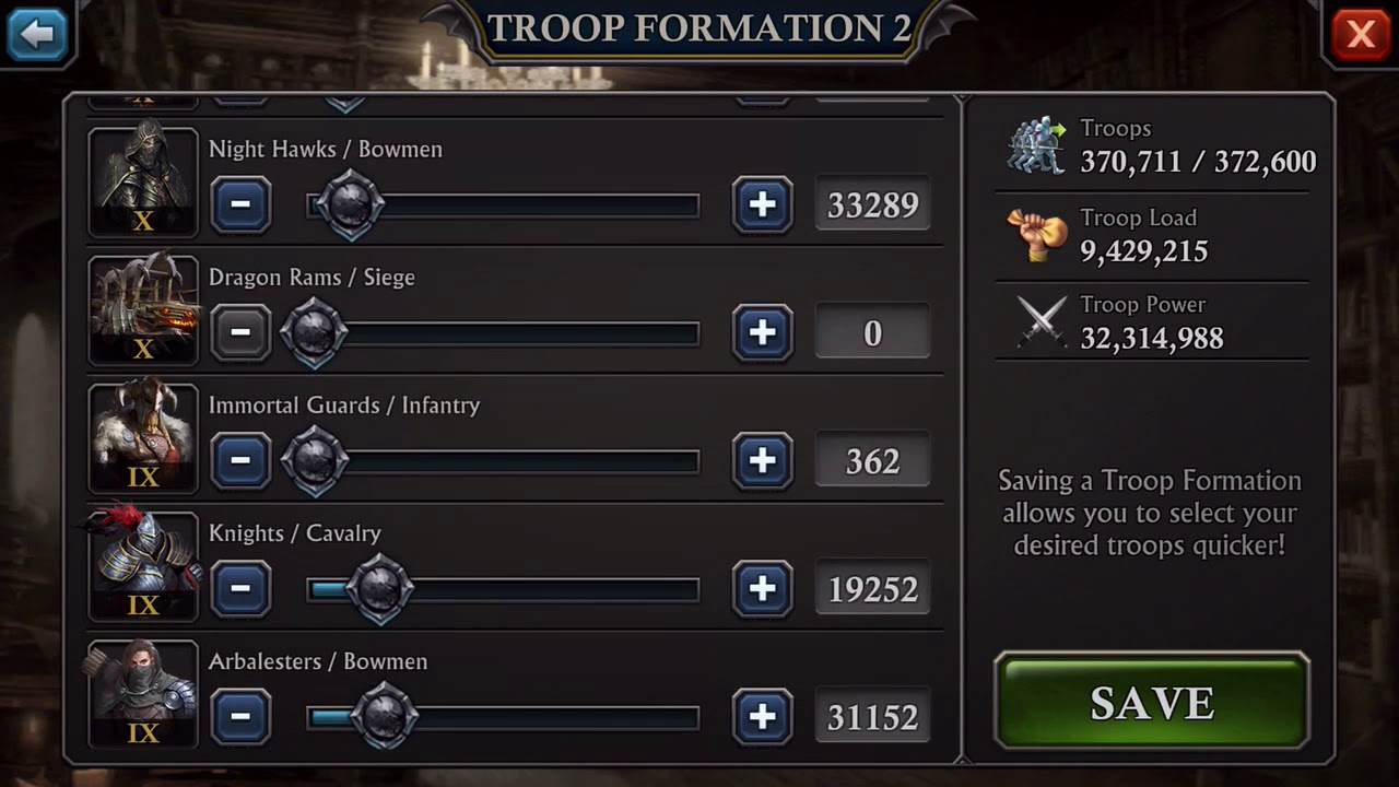 Silent Best troop formation for golem : King of Avalon