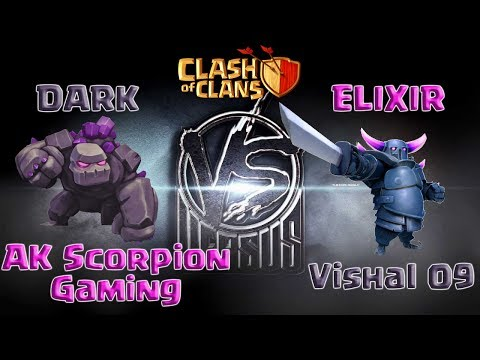 Elixir VS Dark Elixir Troops Challenge | AK Scorpion Gaming VS Vishal 09 | TH9 | CLASH OF CLANS