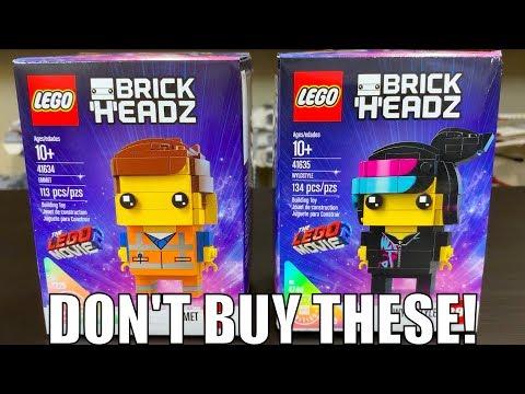 """""""RARE"""" LEGO Movie 2 EMMET & WILDSTYLE Brickheadz Review! (41634 & 41635)"""