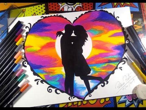 Desenhando Casal Apaixonado Pintura Com Lapis De Cor Youtube