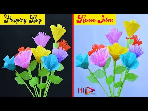 Reusable Shopping Bags Flower Crafts | How To Make Stick Flowers Using Carry Bag