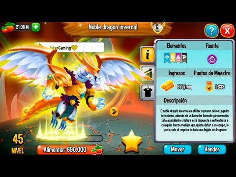 NOBLE DRAGÓN INVERNAL NIVEL 45 + SKIN INVIERNO DORADO!😍 - Dragon City