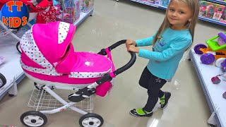 Шопинг! Едем в Магазин Игрушек Ярославе понравилась коляска для кукол! Видео для детей