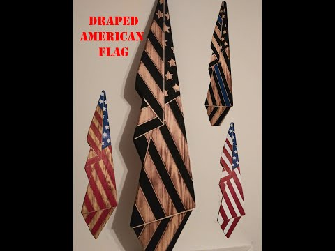 Draped American Flag - Standing Wood Flag