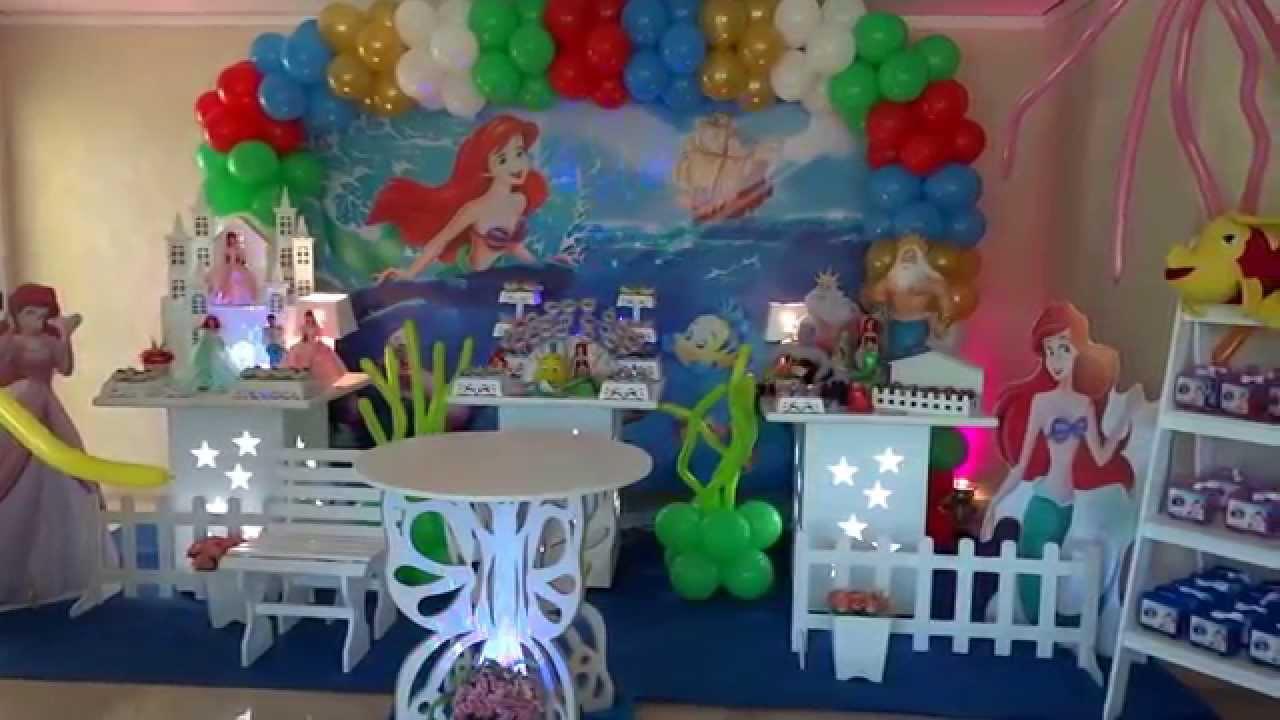 Pequena Sereia Tema para decoraç u00e3o de festa infantil YouTube -> Decoração De Pequena Sereia Simples