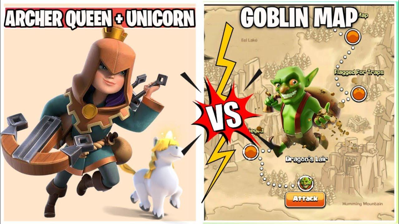 Unicorn 3 Star Challenge   x50 Unicorn + Archer Queen Vs Goblin Map   Coc Summer Update  