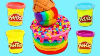 How to Make Rainbow Play Doh Ice Cream Sprinkle Cake | Fun & Easy DIY Play Dough Art!