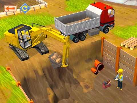 เกมส์ก่อสร้างสำหรับเด็ก ฉาก รถแม็คโครตักดิน