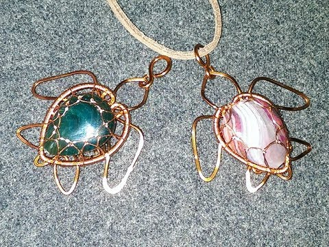 how to  Sea turtle pendant with stones without holes - DIY wire jewelry 259