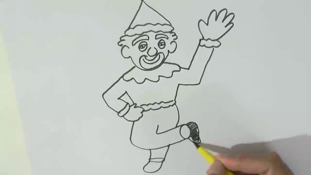 how to draw a circus clown in easy steps for children