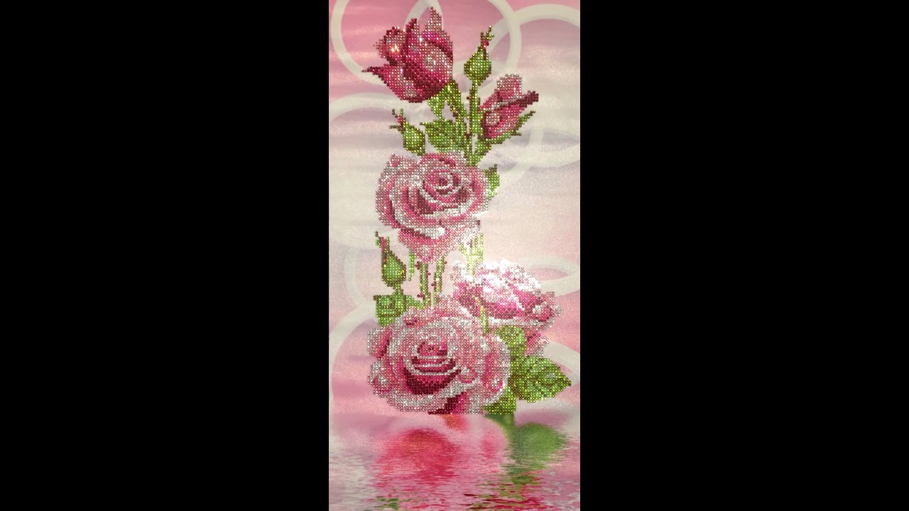 Diamond painting roses crystal youtube for Paintings of crystals
