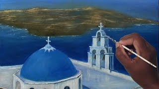 how to draw oil painting | santorini most beautiful islands in Greece | Paint With Dilip Art