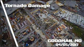 Dramatic Drone Video Showing Tornado Damage To Buildings - Goodman, MO - 04/05/2017